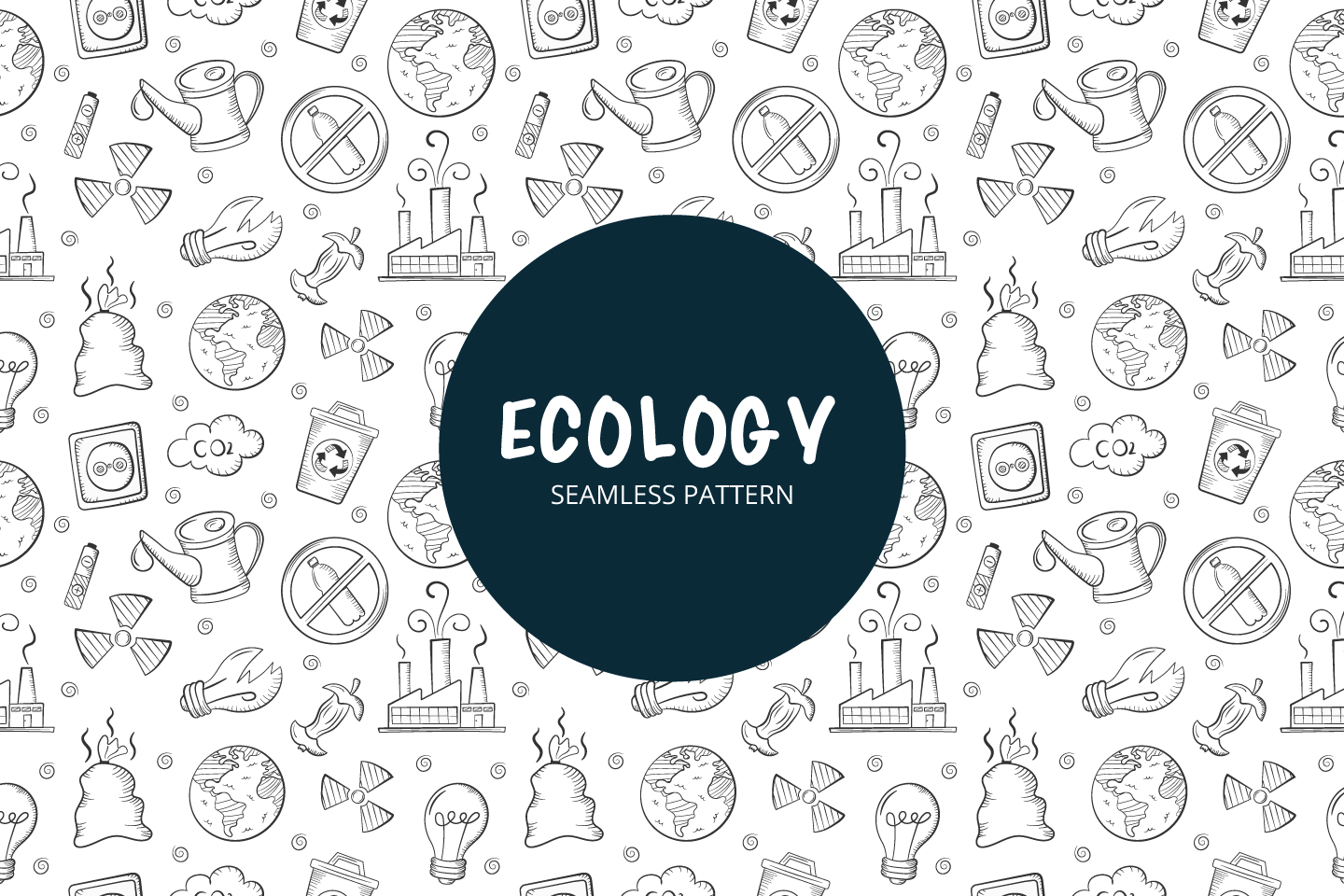 Seamless Vector Pattern on the Theme of Ecology