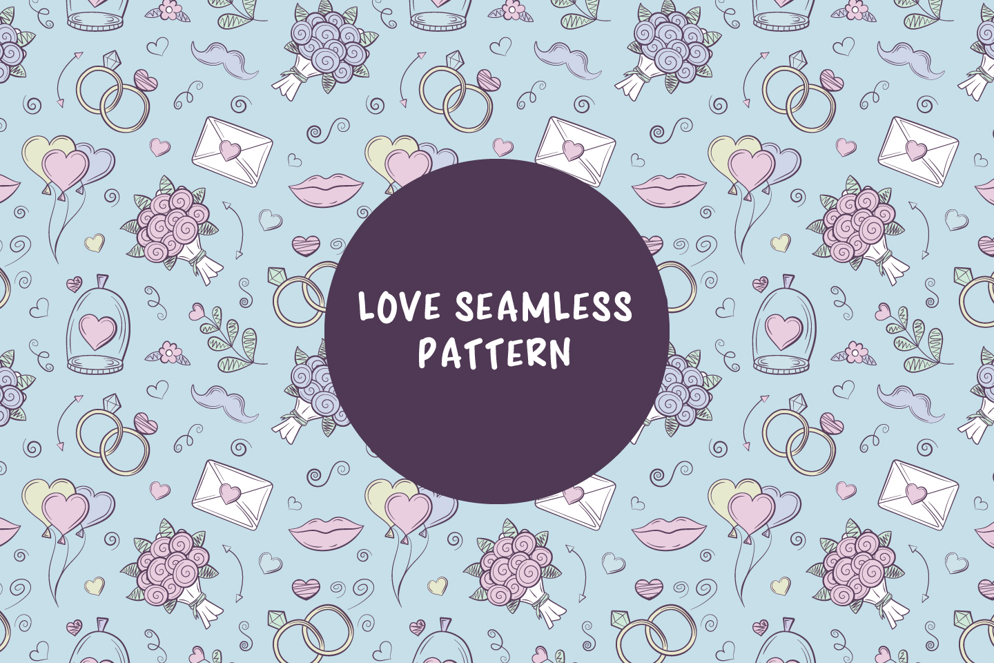 Seamless Vector Pattern on the Theme of Wedding and Love