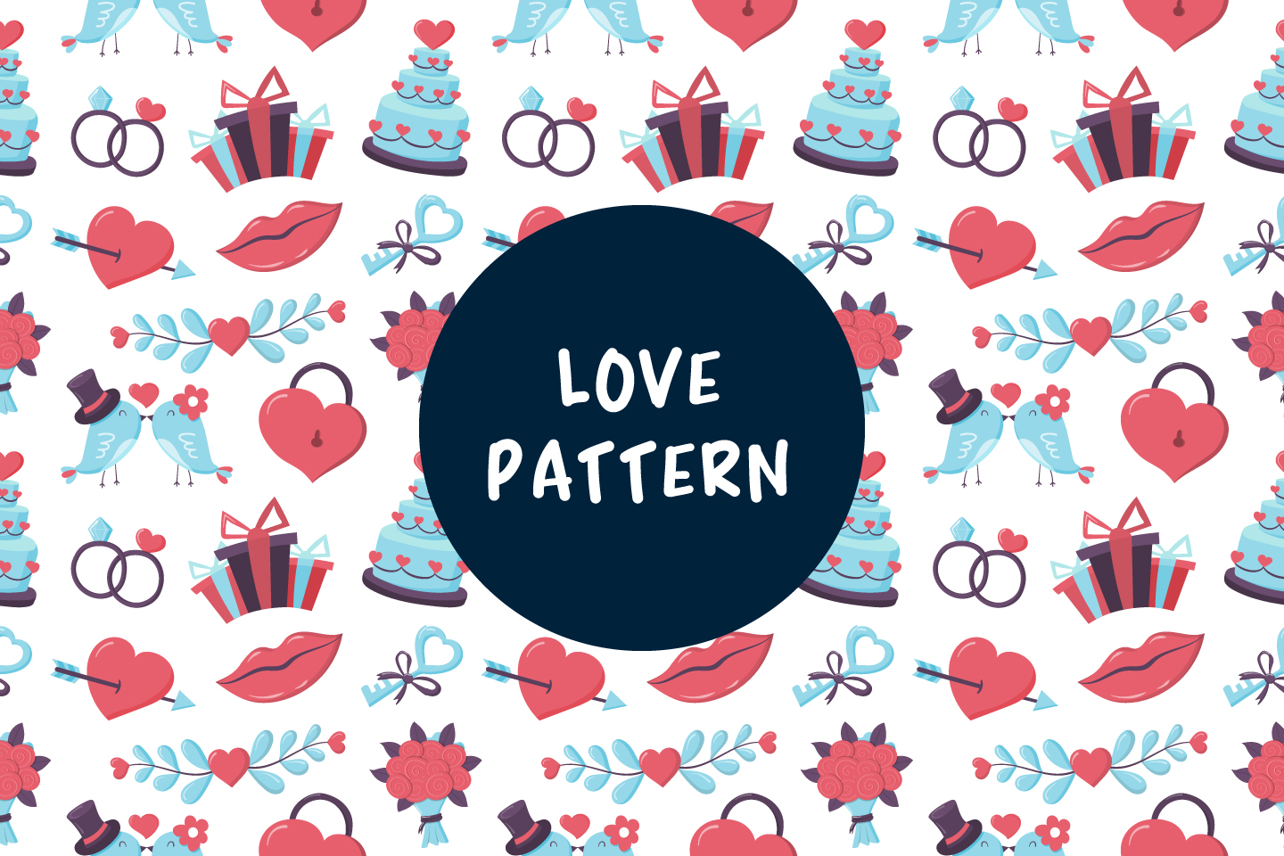 Seamless Vector Pattern on the Theme of Wedding and Love Design