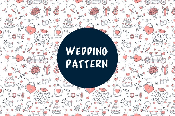 Seamless Vector Pattern on the Theme of Wedding and Love Illustration