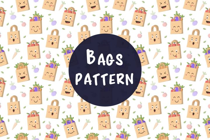 Seamless Vector Pattern with Bags