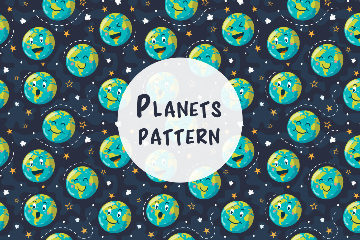Seamless Vector Pattern with Planets
