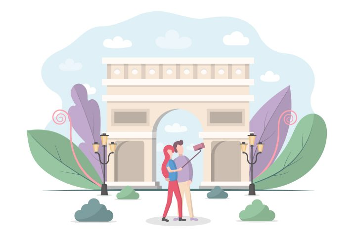 Selfie Tourists on the Background Free Vector Design