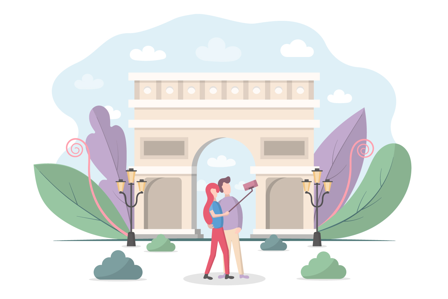 Selfie Tourists on the Background of the Triumphal Arch Vector Design