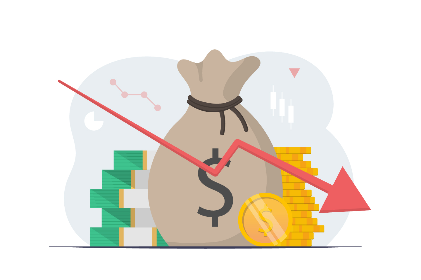Stock and Currency Market Crash Down Illustration