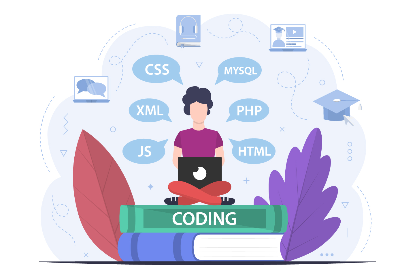 Student Studying Programming Courses Vector Design