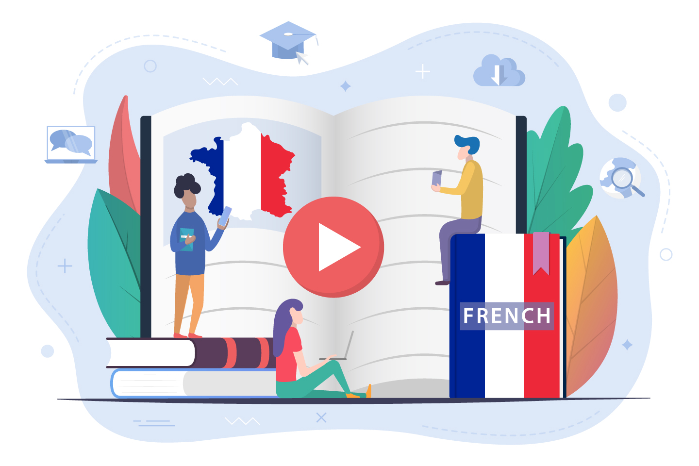 Students Learn French Illustration