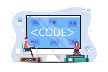 Students Learn Programming Languages Flat Design
