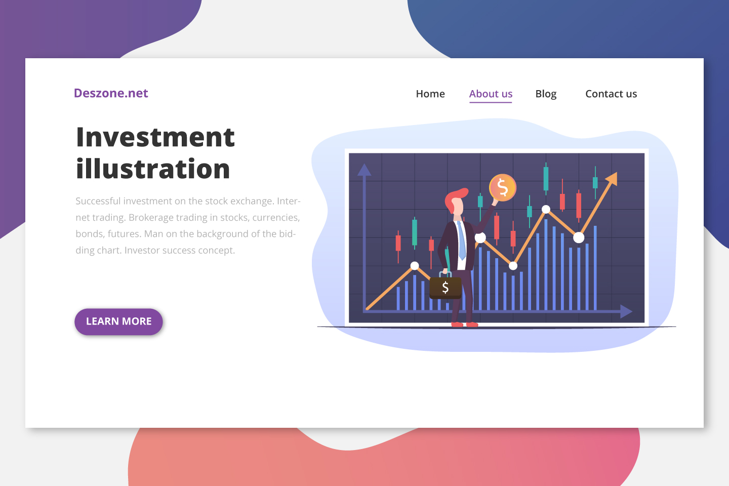 Successful Investment on the Stock Exchange Flat Design
