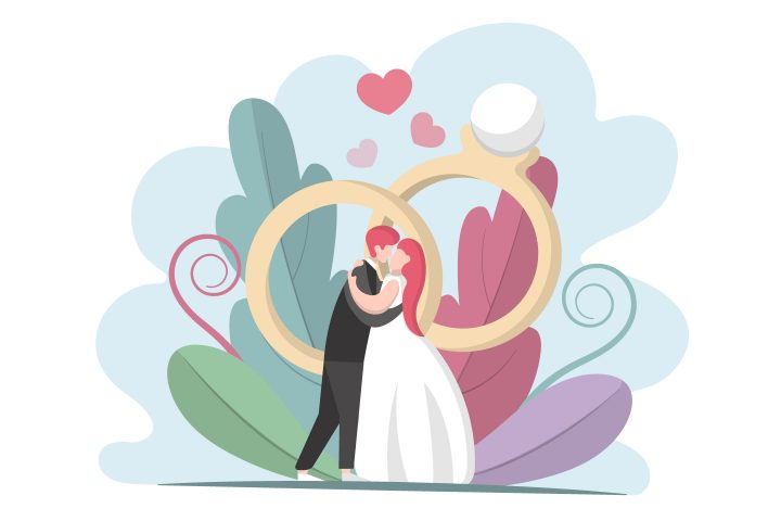 The Bride and Groom Kiss Illustration