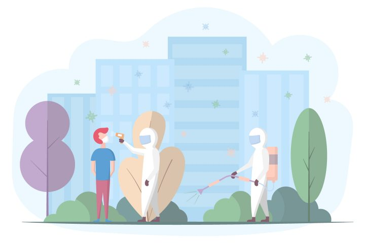 The Epidemic and Pandemic of the Virus in the City Flat Design