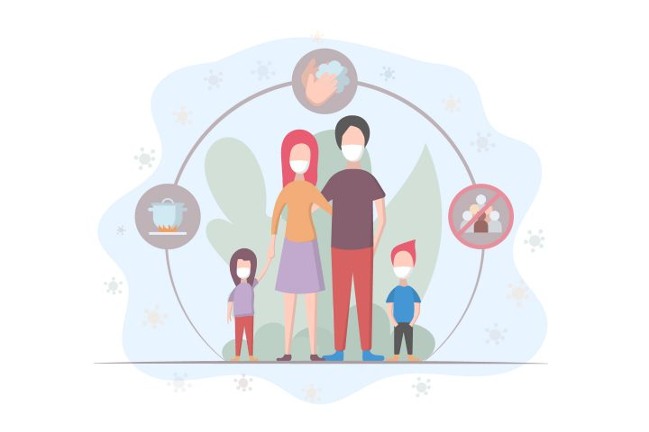 The Family Wears a Protective Medical Mask to Protect Against Viruses Vector Design