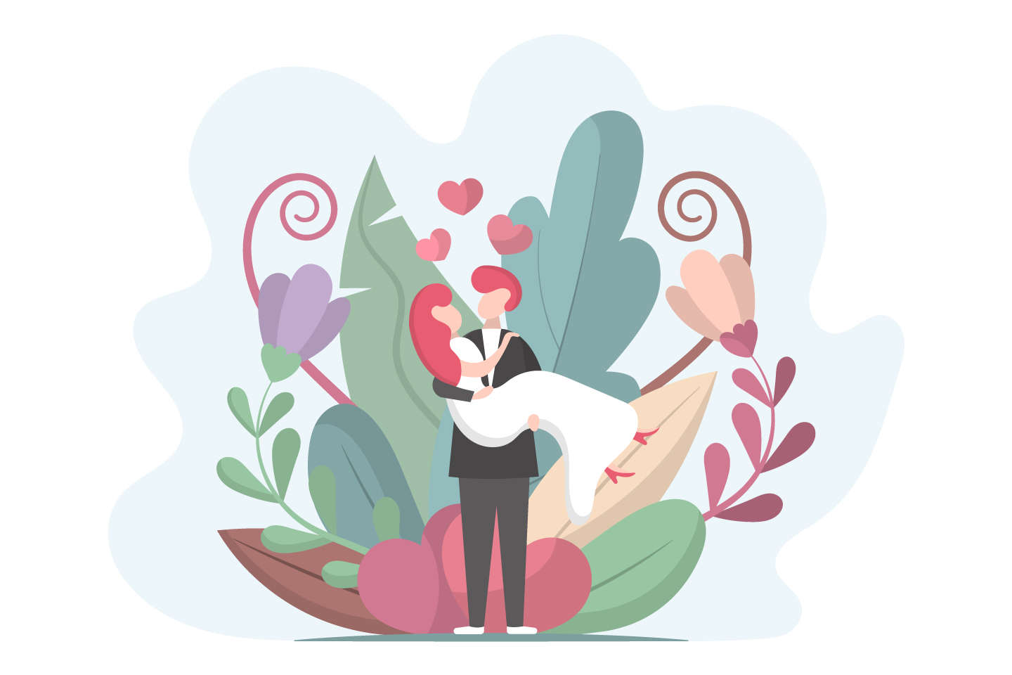 The Groom Holds his Bride in his Arms Vector Design