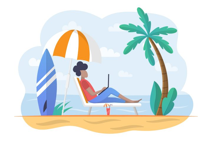 The Guy on the Beach at the Laptop Concept