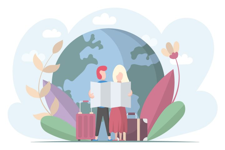 Tourist Man and Woman Map Looking Illustration