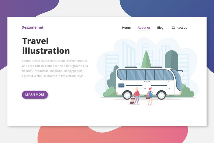 Tourists Man & Woman go to the Bus Vector Illustration