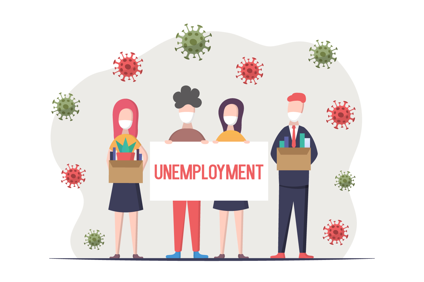 Unemployment During a Pandemic and Epidemic Flat Design