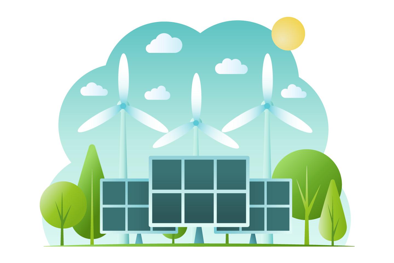 Vector Illustration Alternative and Renewable Energy Vector Design