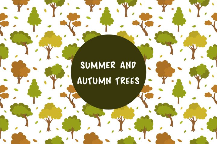 Vector Pattern with Summer and Autumn Trees