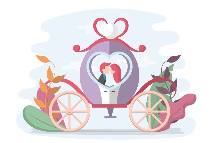 Wedding Illustration Newlyweds in a Carriage Flat Design