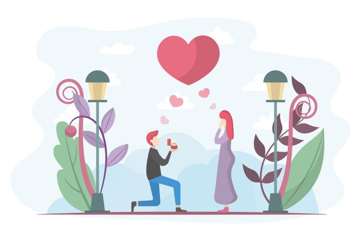 Will you Marry me Illustration Concept