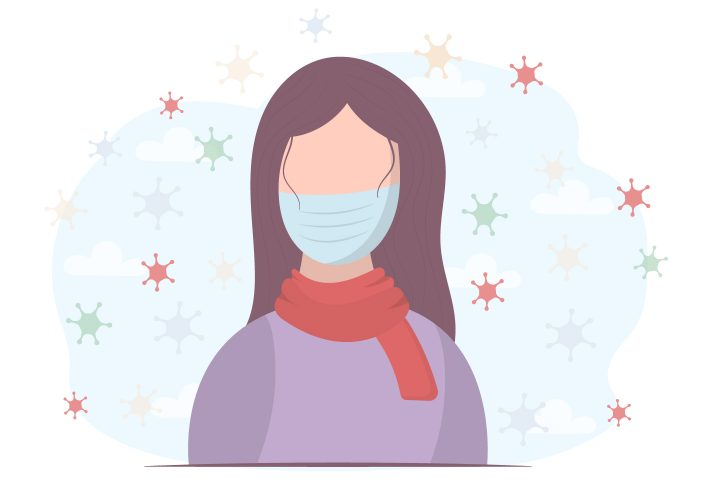Woman in a Protective Mask Against the Virus Concept
