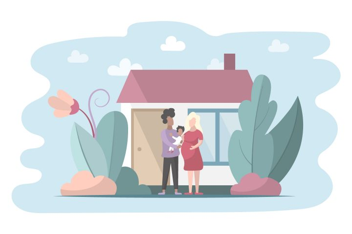 Young Family with a Baby Free Flat Illustration
