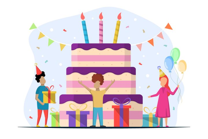 Children with Cake Vector Free Illustration
