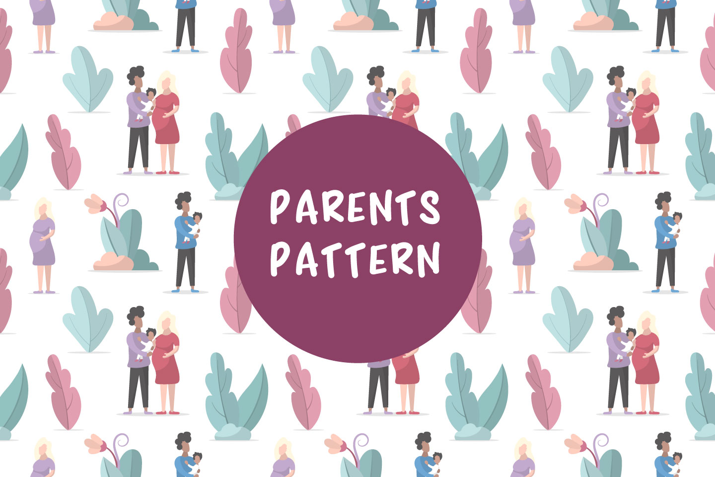 Family in the Park Seamless Vector Pattern