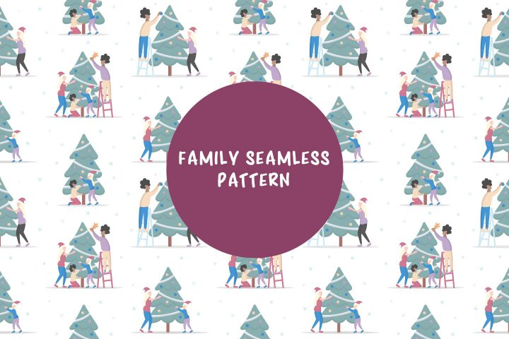 Family Decorates Christmas Tree Seamless Vector Pattern