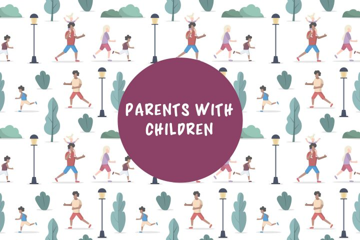 Parents With  Children Relax in the Park Seamless Pattern