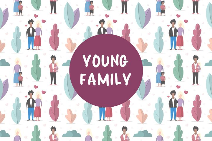 Young Family Seamless Vector Pattern