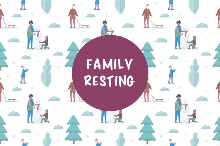Family Resting in the Park in Winter Vector Seamless Pattern