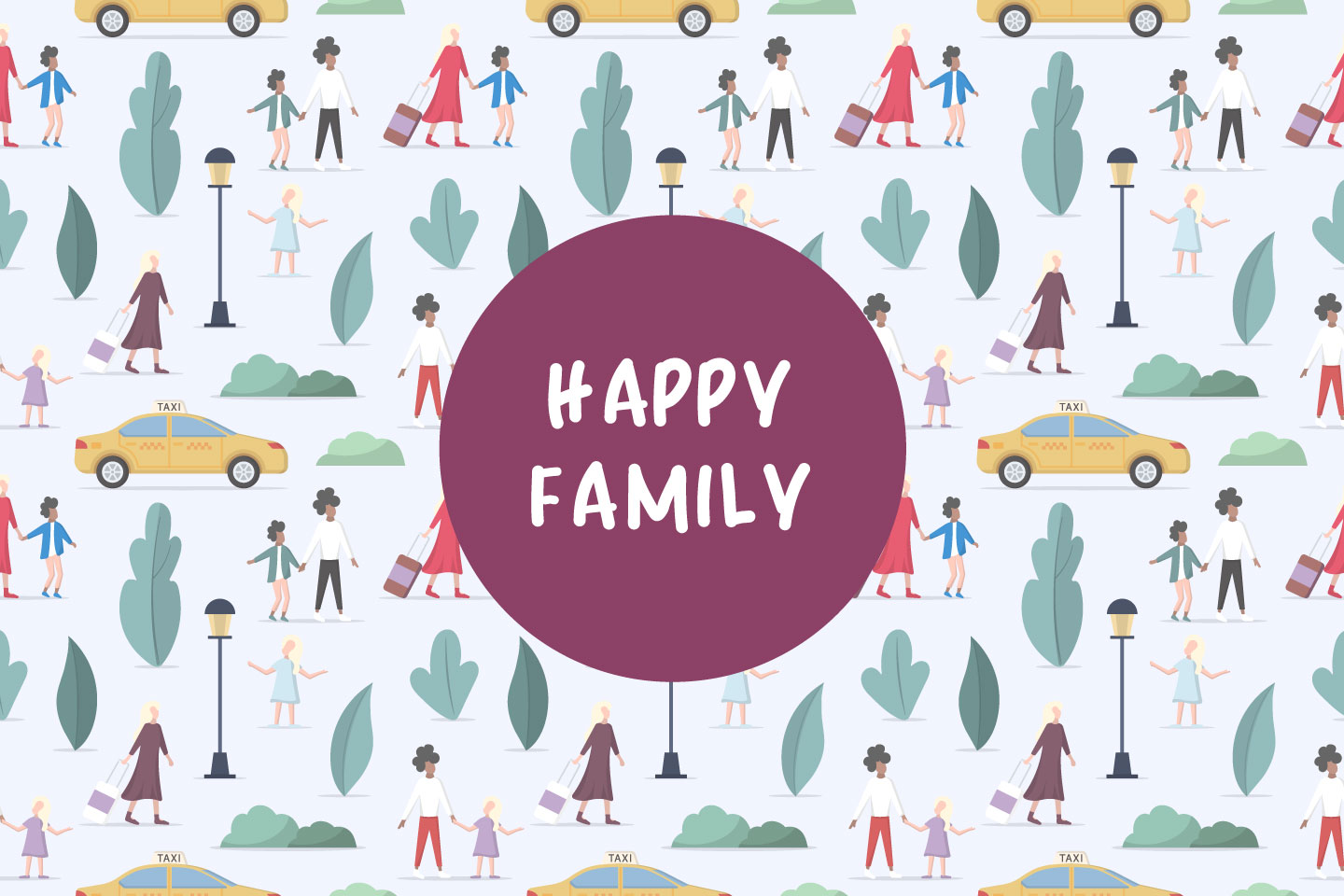 Parents With Children go to a Taxi Vector Seamless Pattern