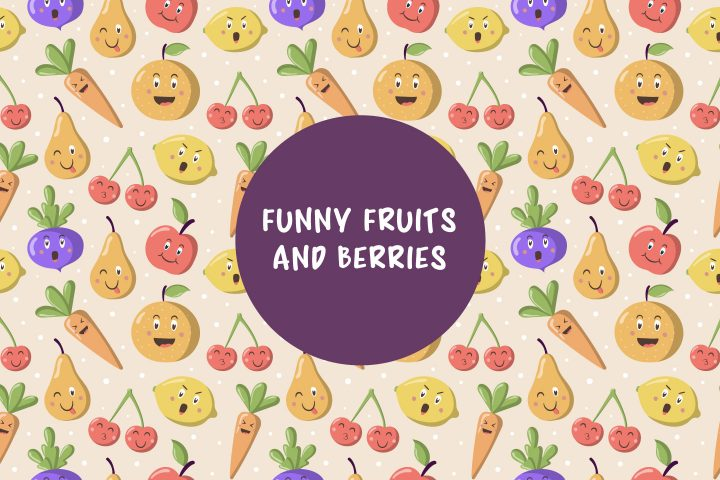 Vector Pattern With Funny Fruits and Berries