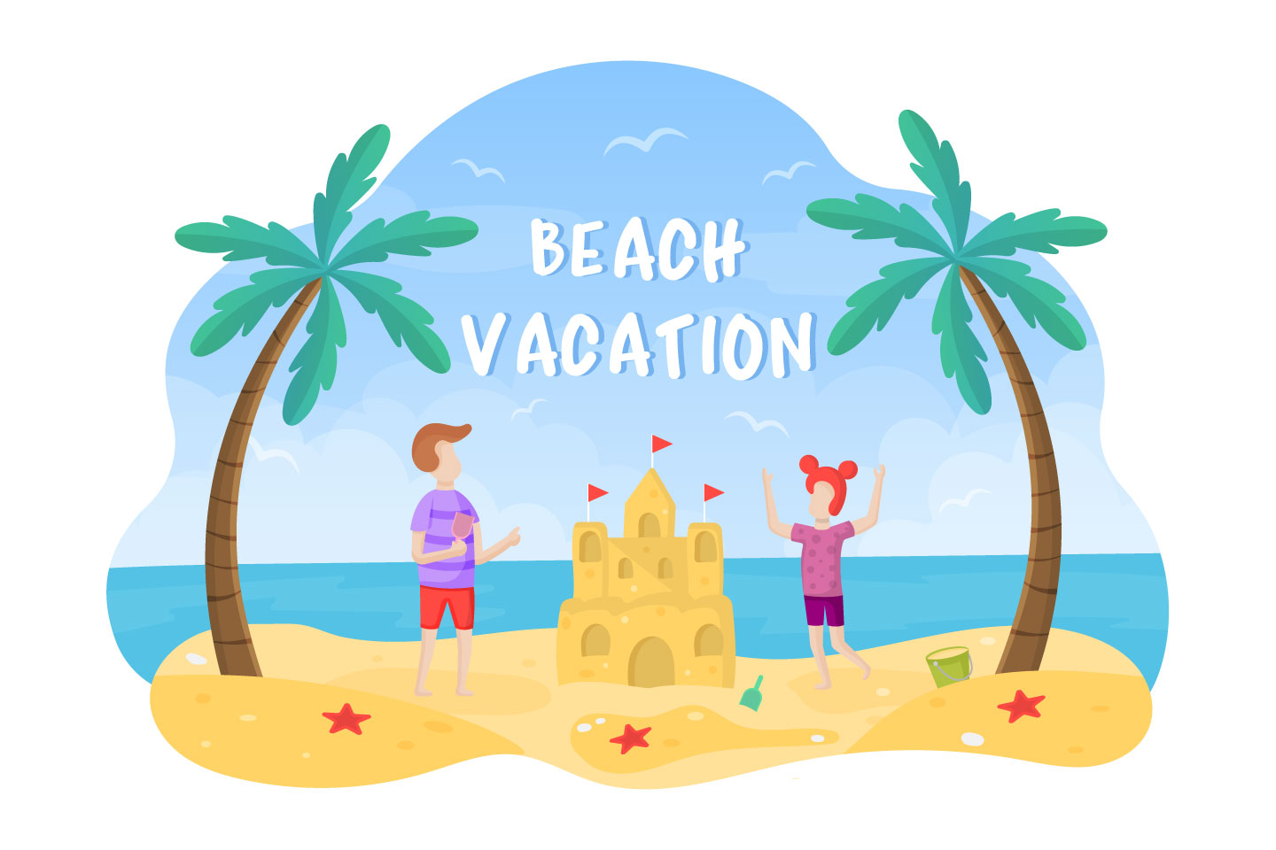 Beach Vacation with Children Vector Illustration