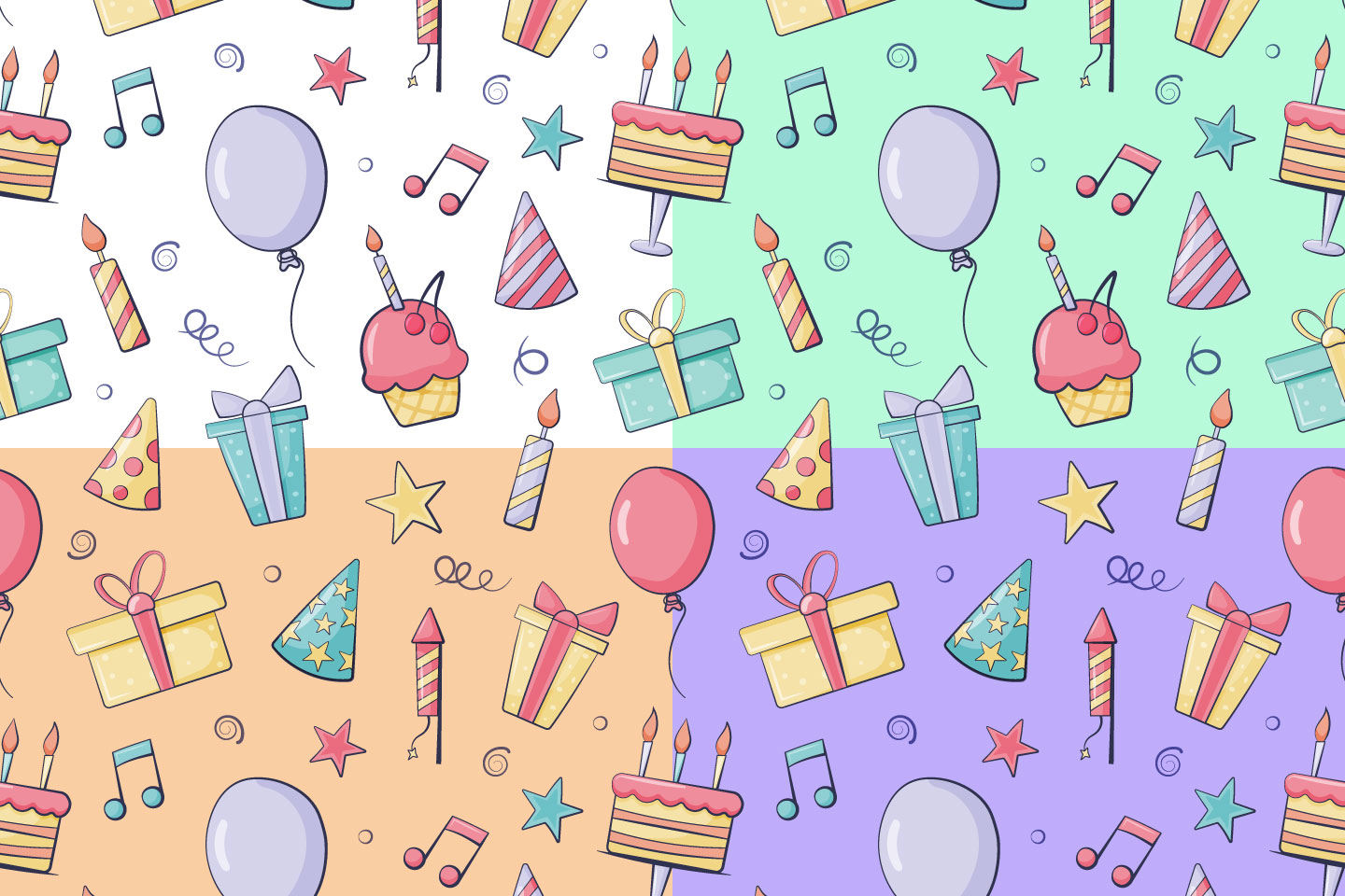 Birthday Vector Seamless Pattern