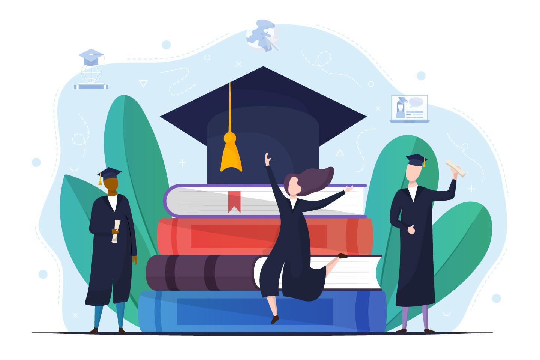 Boys and Girls Celebrating University Graduation Vector Design