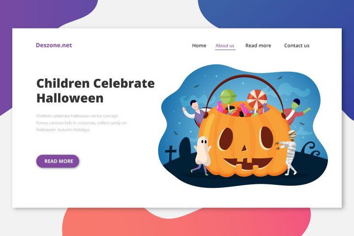 Children Celebrate Halloween Vector Concept
