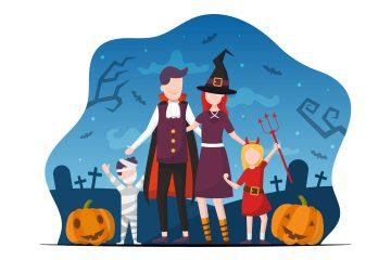 Family Celebrating Halloween Free Flat Design