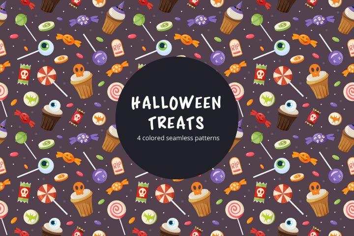 Halloween Treats Free Vector Seamless Pattern