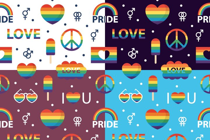 LGBT Symbols Vector Seamless Pattern
