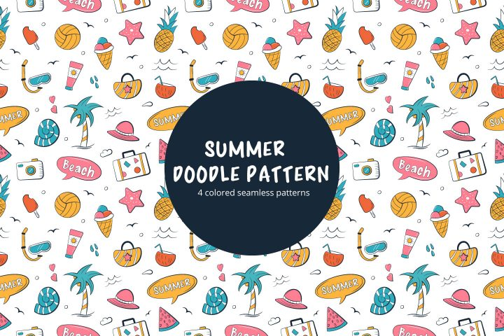 Summer Vector Seamless Doodle Free Pattern