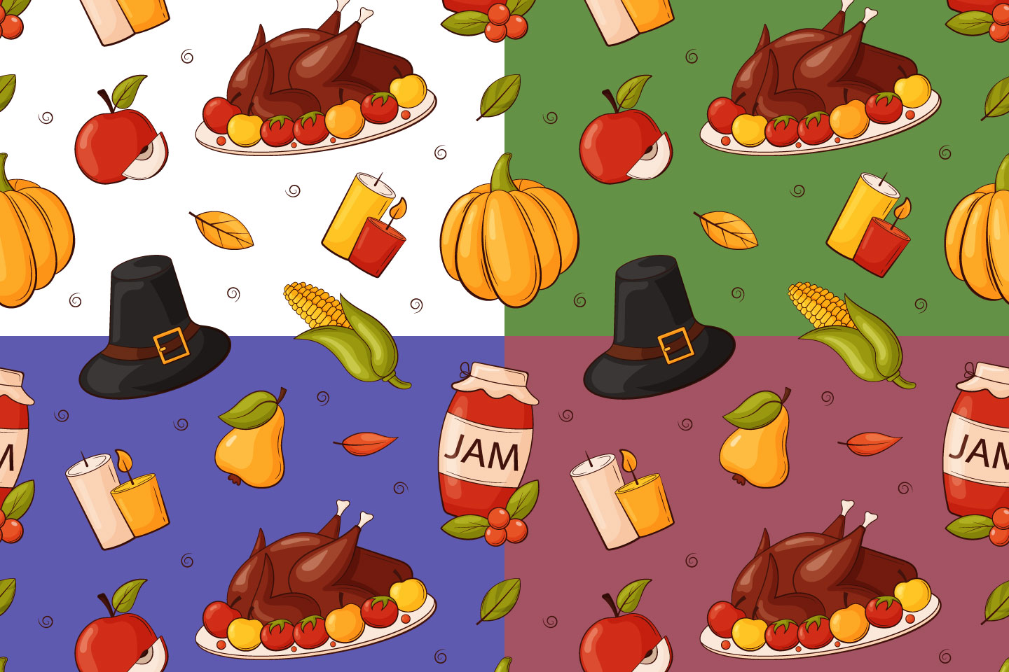 Thanksgiving Day Vector Seamless Pattern