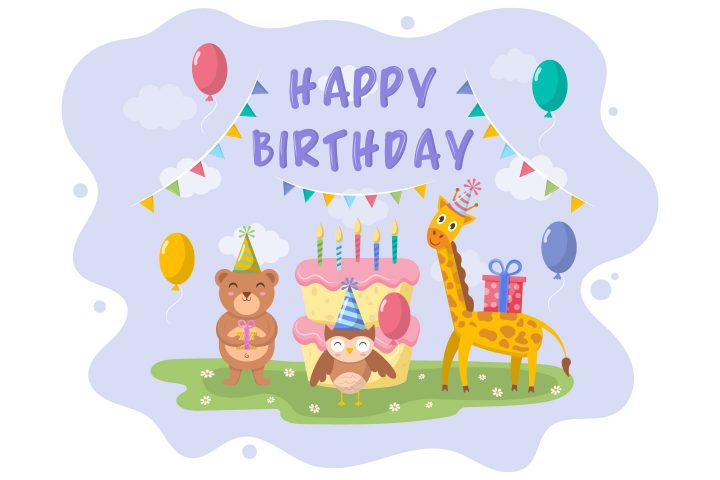 Animal Birthday Party Illustration