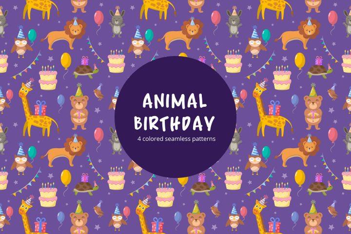 Animal Birthday Party Seamless Pattern