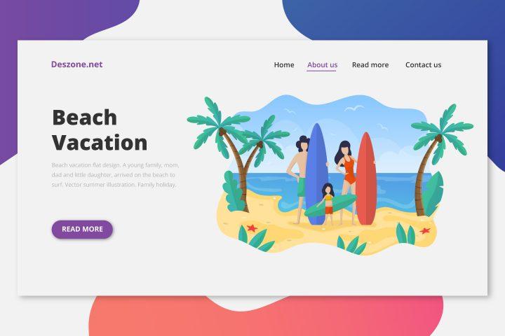 Beach Vacation Flat Design