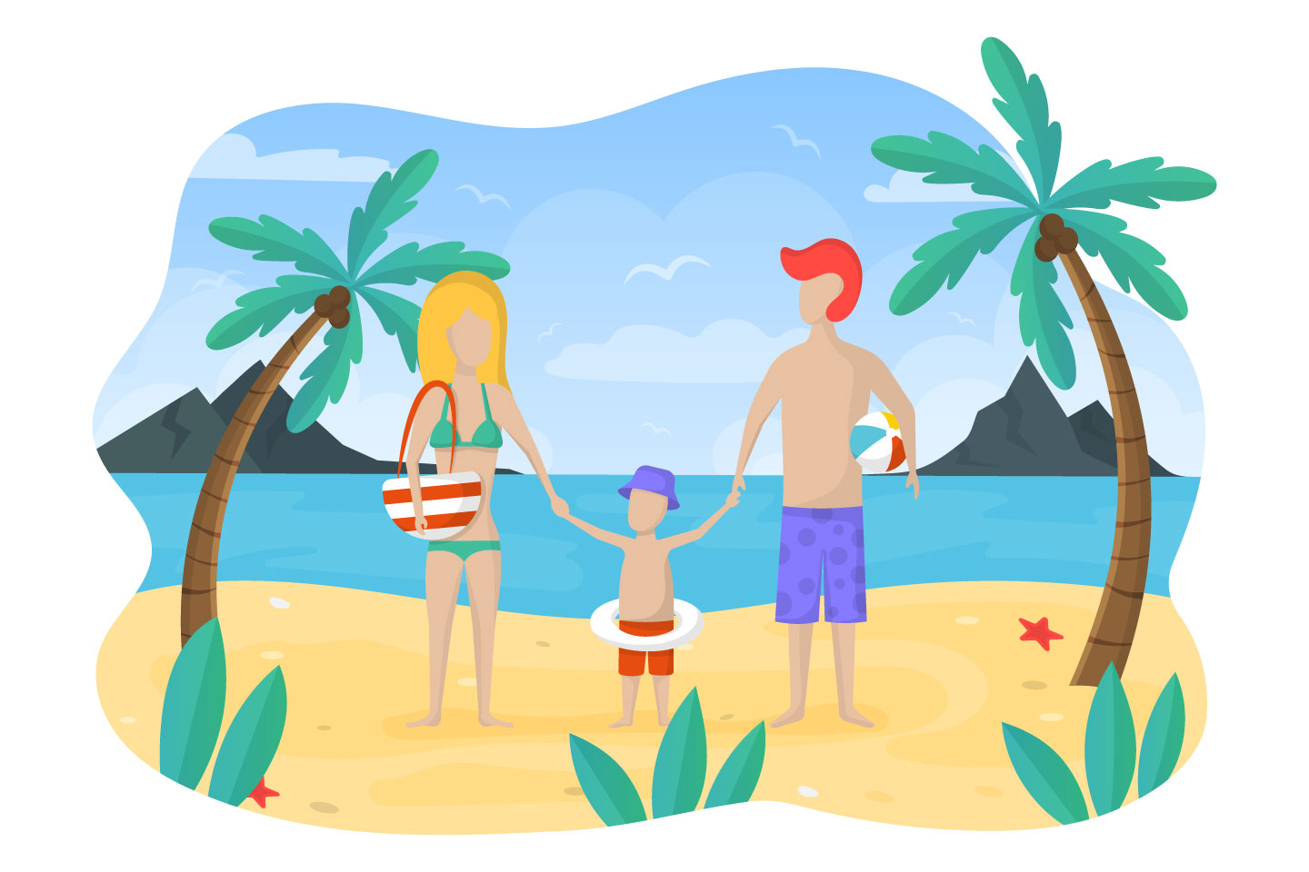Family on Beach Vacation Concept