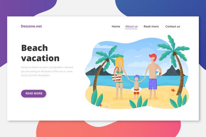 Free Illustration Family on Beach Vacation