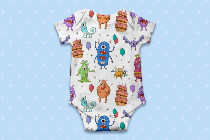 Funny Monsters Birthday Party Seamless Pattern